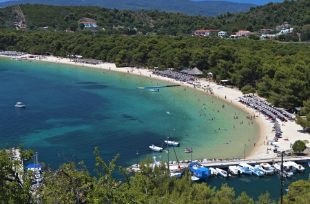 water's: Koukounaries beach at Skiathos island in Greece
