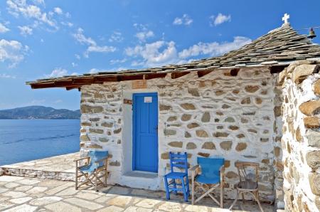 Chapel at Tsougria island near Skiathos in Greece Stock Photo