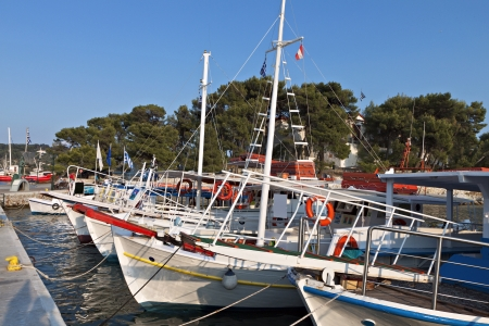 Traditional boats at Skiathos island in Greece