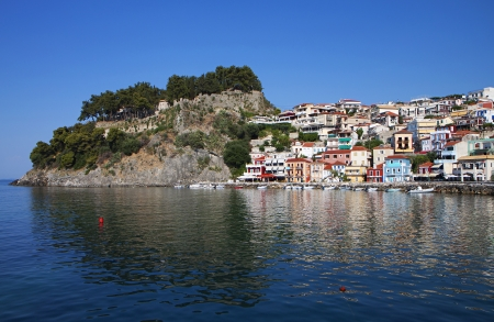 Parga town and port near Syvota in Greece