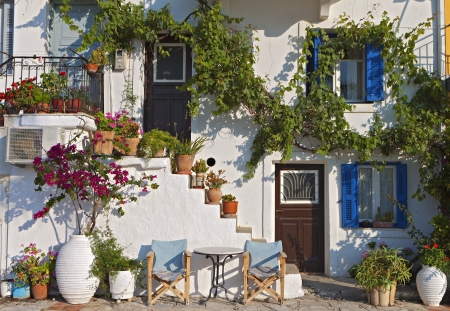 traditional house: Greek traditional house at Parga town in Greece