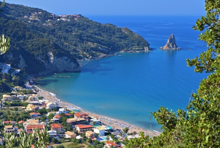 Agios Gordios beach at Corfu island in Greece photo