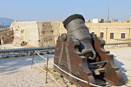 bombard: Old gun at the castle of Corfu island in Greece
