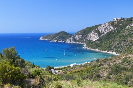 ionio: Saint George beach at Corfu island in Greeece Stock Photo