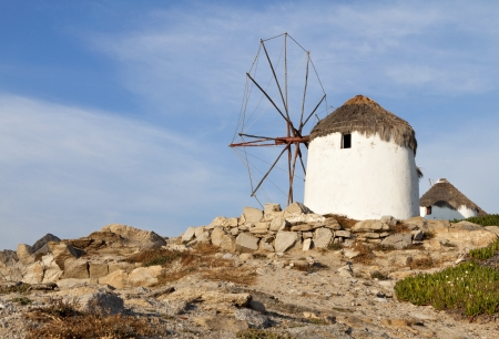 kyklades: Old windmill at Mykonos island of the Cyclades in Greece