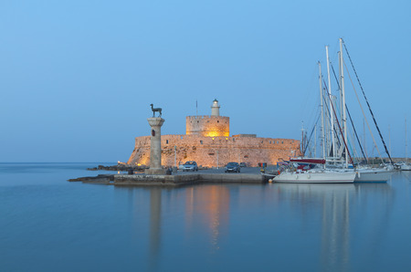 templars: Saint Nikolaos fortress and the statue of the Deer at Rhodes island in Greece
