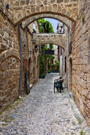 templars: Medieval city of Rhodes island in Greece Stock Photo