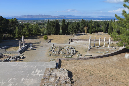 hippocratic: Ancient site of Asclepio at Kos island in Greece  Stock Photo