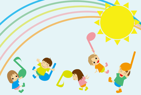 Notes and children Vector