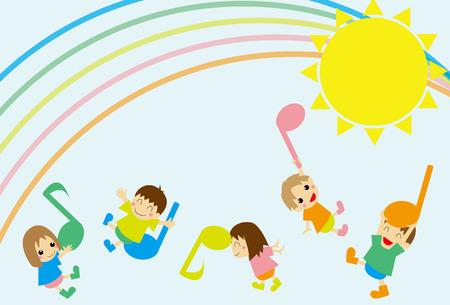 Notes and children Illustration