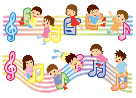 staffs: musical score and kids  Asian  Illustration