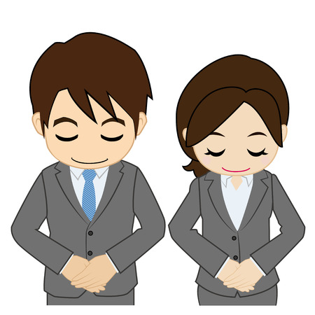 bowing: Man and woman of a bowing suit Illustration