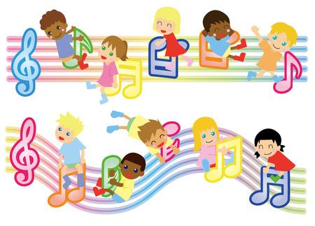 musical score and kids-global Vettoriali