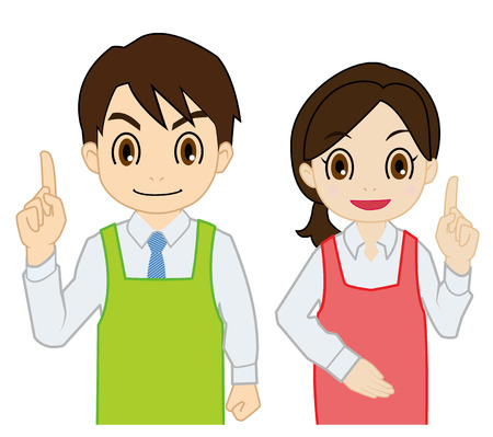 salesperson: salesperson of raising finger Illustration