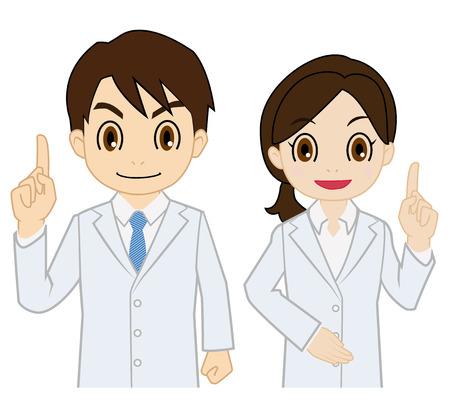 researcher: researcher of raising finger Illustration