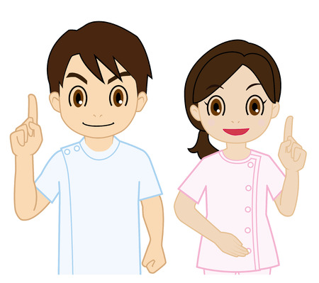 bodywork therapist of raising finger Illustration