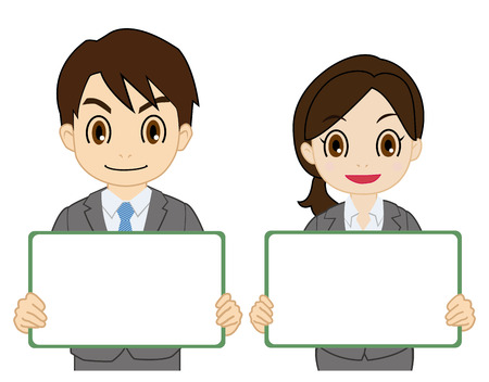 Man and woman of the suit having a white board