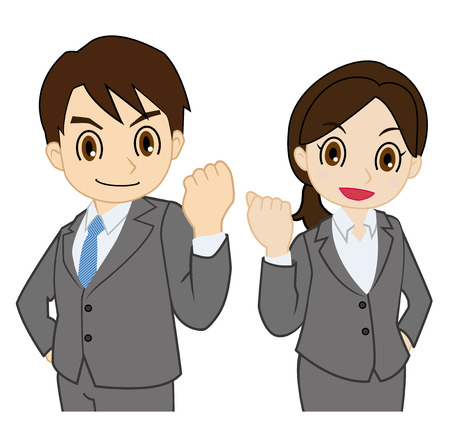 Man and woman of the suit with the motivation Vector