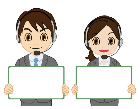 operator having a white board Illustration