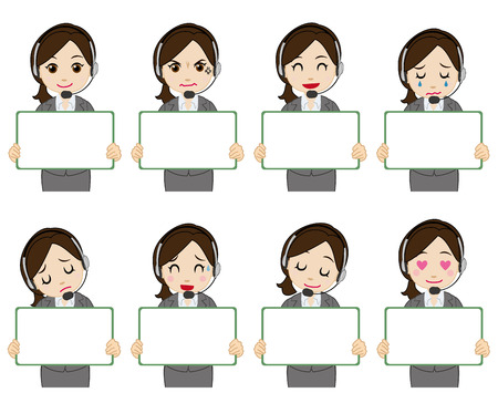 call center female: female operator who appeals Illustration