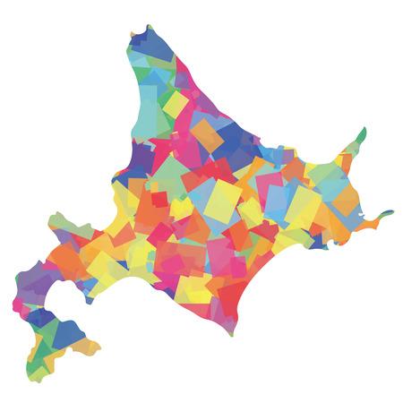 Colorful silhouette of Hokkaido