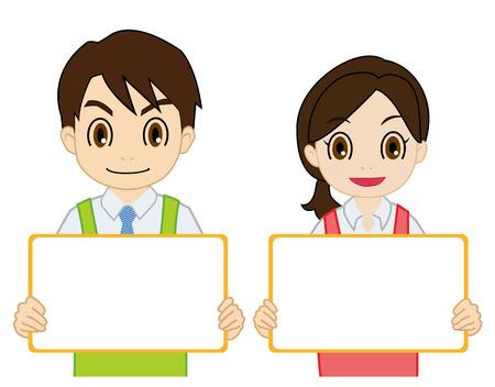 yellowish: salesperson having a white board