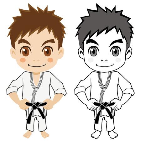 back belt: El ni�o que hace artes marciales Vectores