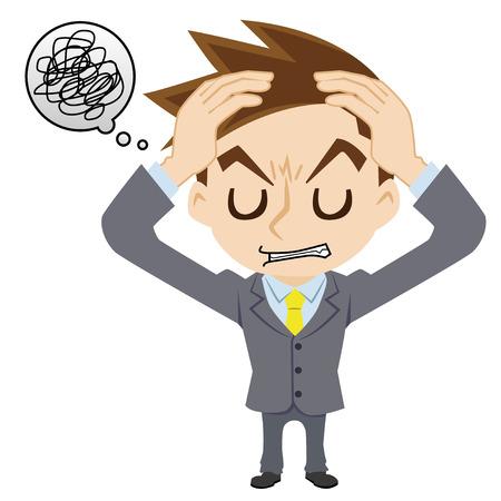 irritate: businessman who has a headache Illustration