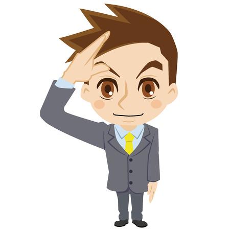 敬礼する実業家  イラスト・ベクター素材