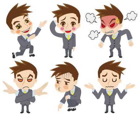ビジネスマンの感情  イラスト・ベクター素材