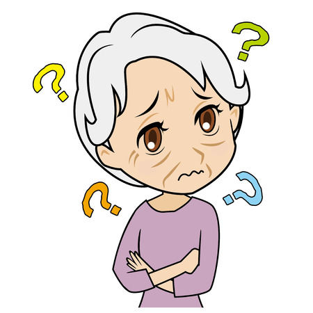 incomprehensible: old woman who does not know Illustration