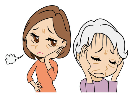 mother who cowers, daughter who is troubled  イラスト・ベクター素材