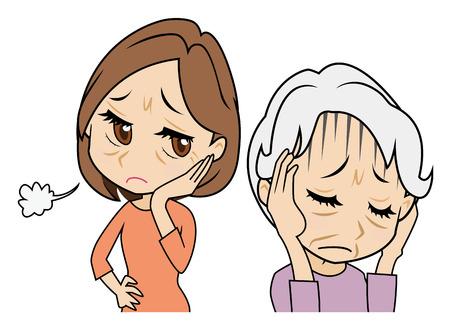 problemas familiares: madre que se encoge, hija que está preocupado