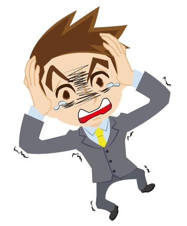 tremble: businessman who is astonished illustration