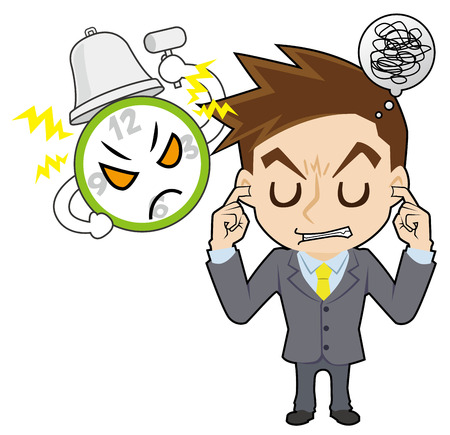 irritate: A clock , and businessman who covers ears