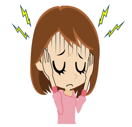 頭痛を持っている若い女性  イラスト・ベクター素材
