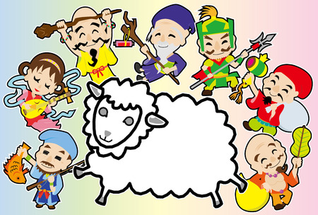 deities: Sheep and seven Deities of Good Fortune (Rainbow color) Illustration
