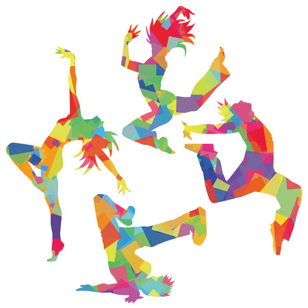 jazz dance: Silhouette of the dance (colorful)