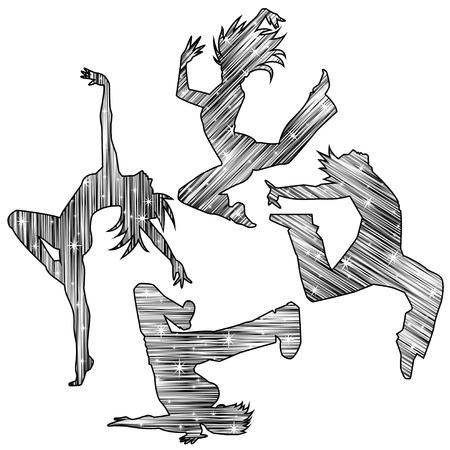 Silhouet van de dans (Monochroom te glinsteren)