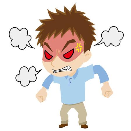 怒っている若い男
