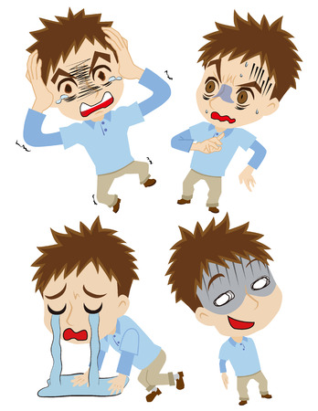 Set of the shocked young man Vector