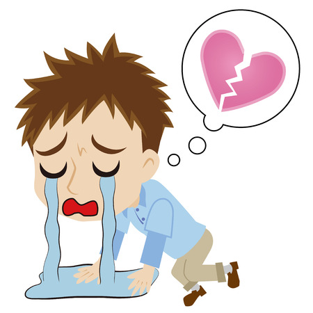 Young man who weeps bitterly by lost love