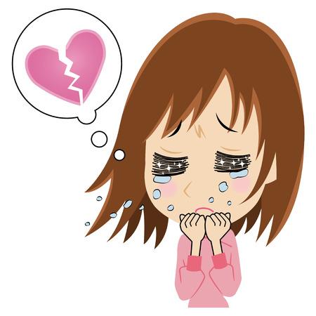 失われた愛を悲しませる若い女性