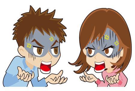 young couple who quarrels Иллюстрация