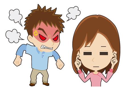 怒っている男は、女性を無視するには