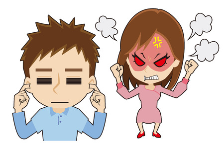 squabble: Angry woman, man to ignore