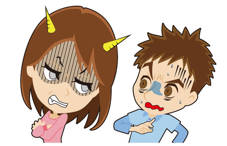 Woman to glare , man who are frightened Illustration