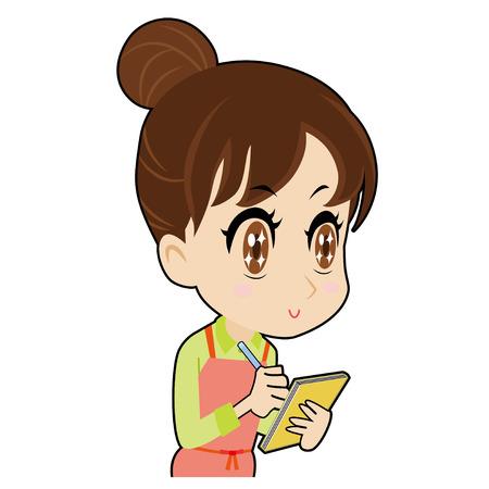joven ama de casa que hacen una nota Ilustración de vector