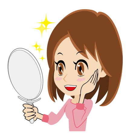 pleased: woman who is pleased to watch a mirror Illustration