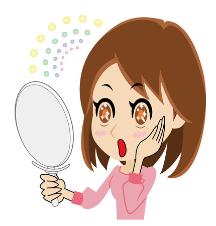 asian adult: woman who is delighted to watch a mirror